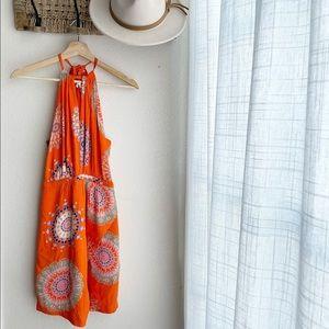 Anthropologie Floreat Orange Halter Dress Size 4